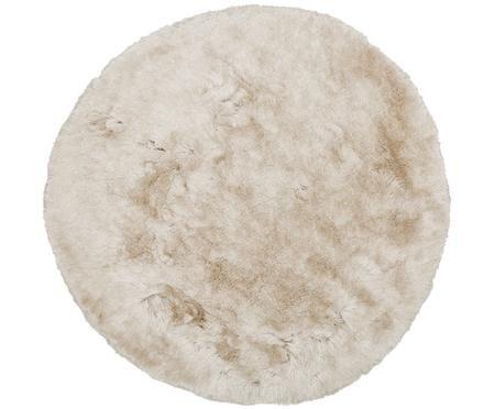 Schimmernder Hochflor-Teppich Jimmy in Elfenbein, rund