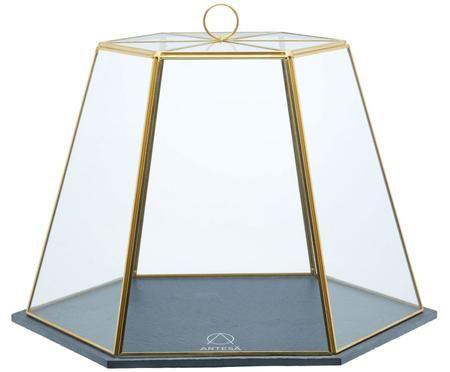 Servierglocke Artesa aus Glas mit goldenen Details