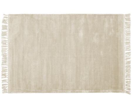 Handgewebter Viskoseteppich Aria mit Fransen in Weiß