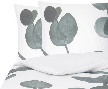 Perkal-Bettwäsche Eukalyptus in Grün/Weiß