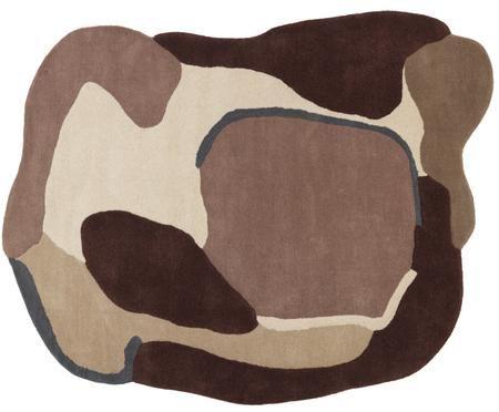 Tapis en laine à imprimés rouge-beige en relief Oblivian
