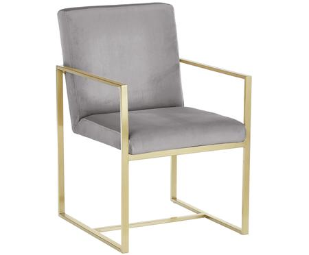 Krzesło z podłokietnikami z aksamitu Manhattan