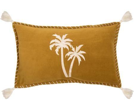 Kissenhülle Bali mit Palmen-Stickerei und Quasten