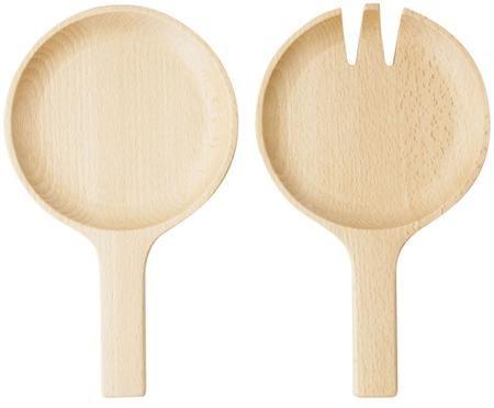 Design-Salatbesteck Pan aus Buchenholz, 2er-Set