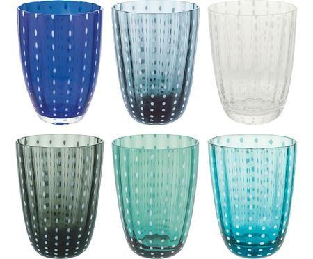 Bicchieri da acqua Kalahari nei toni del blu, set di 6