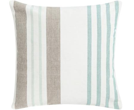 Cuscino a righe multicolore Beach House, con imbottitura