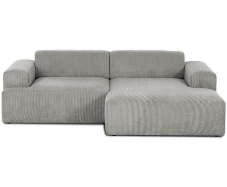 Canapé d'angle en velours côtelé Marshmallow (3 places)