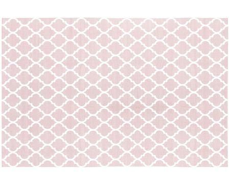 Handgewebter Baumwollteppich Amira in Rosa/Weiß
