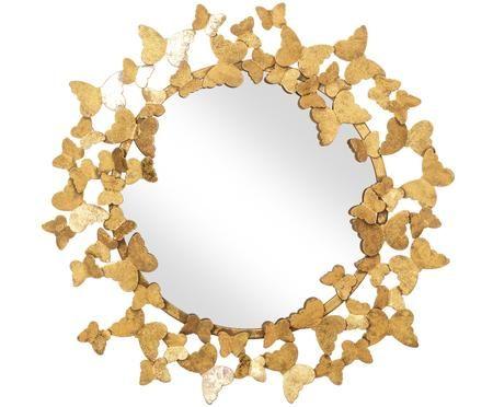 Runder Wandspiegel Butterfly mit Goldrahmen