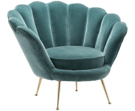 Fluwelen fauteuil Trapezium in turquoise