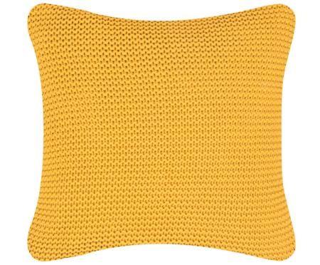 Housse de coussin en tricot ocre Adalyn