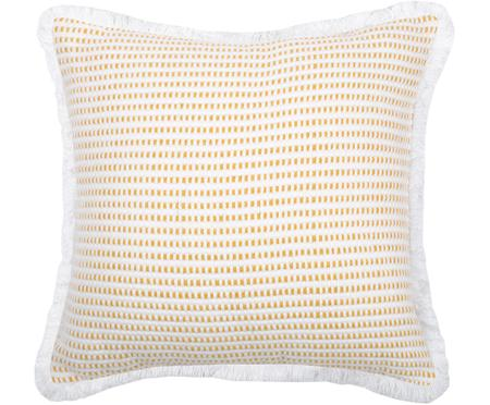 Kissen Salamanca in Gelb/Weiß, mit Inlett