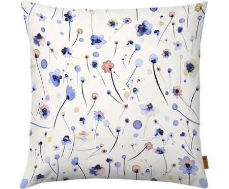 Federa arredo con motivo floreale Blue Soft Flowers