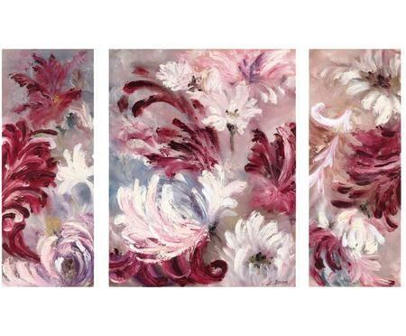 Triptico de impresiones digitales sobre lienzo Estampado, 3 pzas.