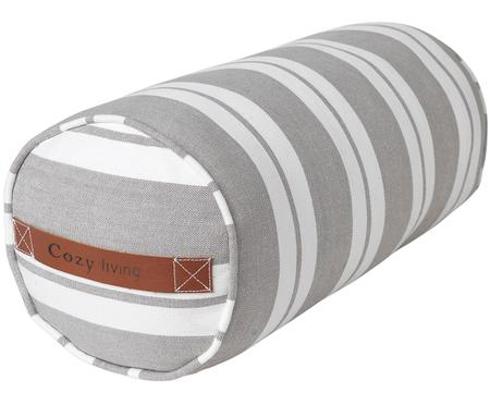 Gestreifte Nackenrolle Cotton Bolster in Grau/Weiß, mit Inlett