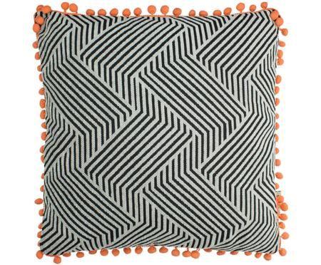 Kissen Waves mit orangefarbenden Bommeln, mit Inlett