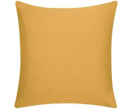 Housse de coussin en coton jaune moutarde Mads