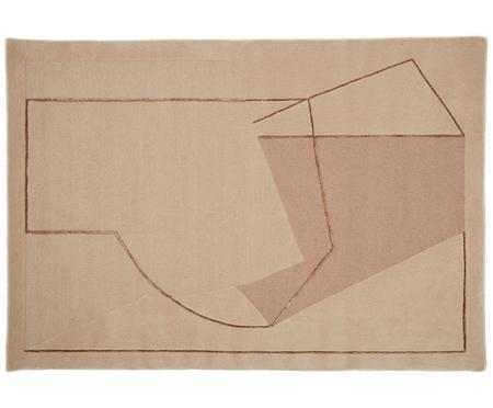 Handgetufteter Designteppich Furbo aus Wolle in Rosa