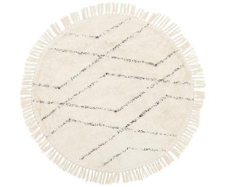 Tappeto rotondo in cotone Bina con motivo a rombi, trapuntato a mano