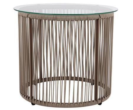 Table d'appoint avec plateau de verre Bahia