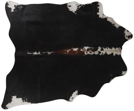 Kuhfell-Teppich Pisces in Schwarz und Weiß