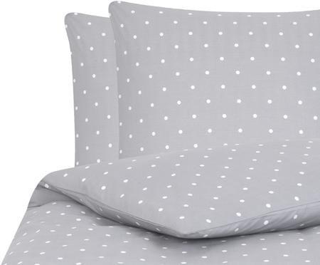 Gepunktete Renforcé-Bettwäsche Dotty in Grau/Weiß