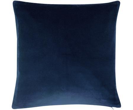 Einfarbige Samt-Kissenhülle Alyson in Marineblau