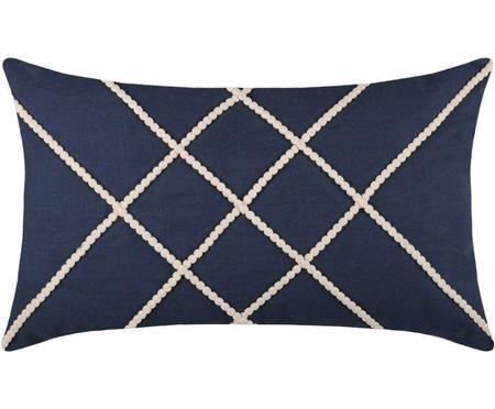 Coussin à motif lignes blanches en relief Concarneau Stripe