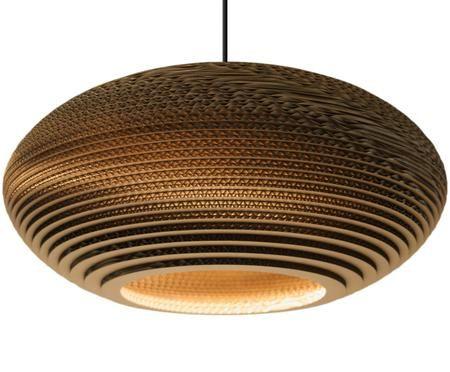 Lampa wisząca z tektury falistej z recyklingu Disc