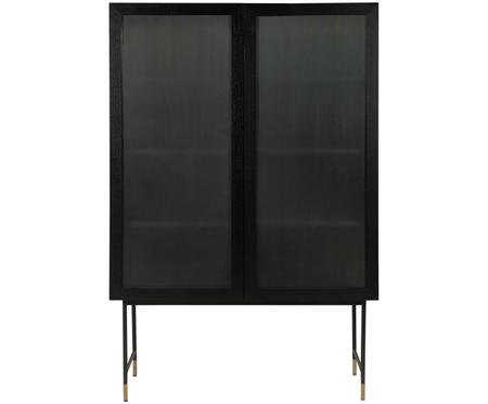 Vysoká černá skříňka s prosklenými dvířky Pozzini