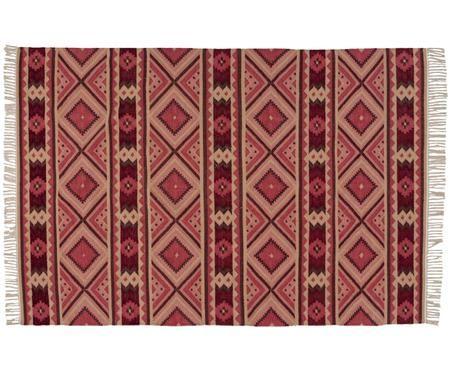 Tappeto di lana Gypsy in stile etnico in rosa