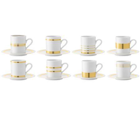 Tazze da espresso con piattini Deco, 8 pz.