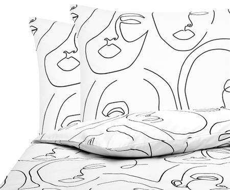 Perkal-Bettwäsche Aria mit abstrakter One Line Zeichnung