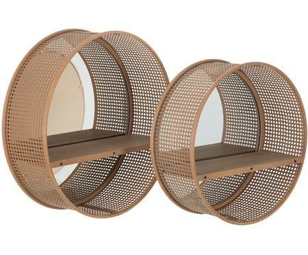 Set de estantes de pared Thomi, 2uds., con espejos