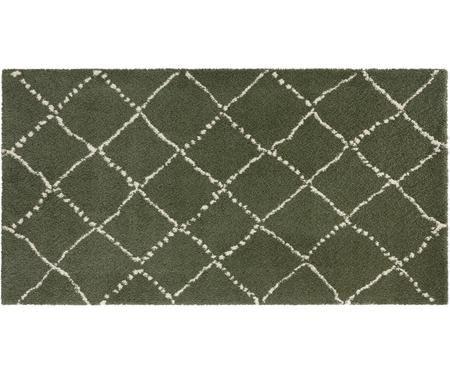 Flauschiger Hochflor-Teppich Hash in Olivgrün, Cremefarben