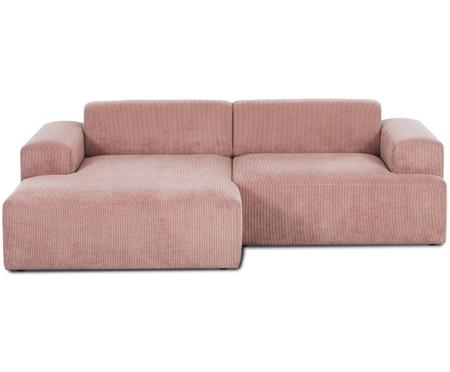 Divano con chaise-longue in velluto a coste Marshmallow (3 posti)
