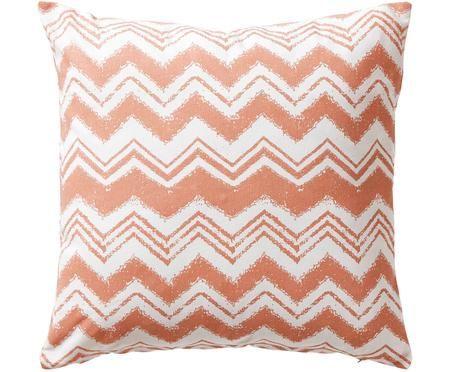 Housse de coussin orange et blanche à imprimé zigzag Valencia