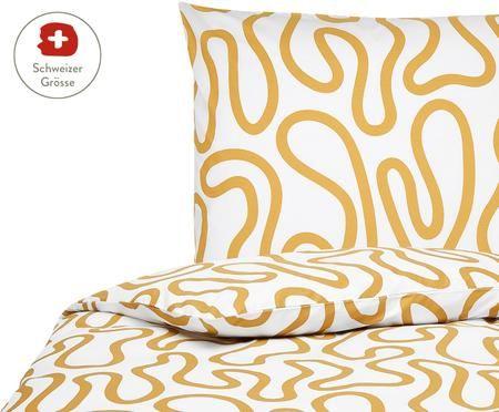 Perkal-Bettdeckenbezug Elliot mit abstraktem Linienmuster