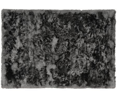 Glänzender Hochflor-Teppich Jimmy in Dunkelgrau