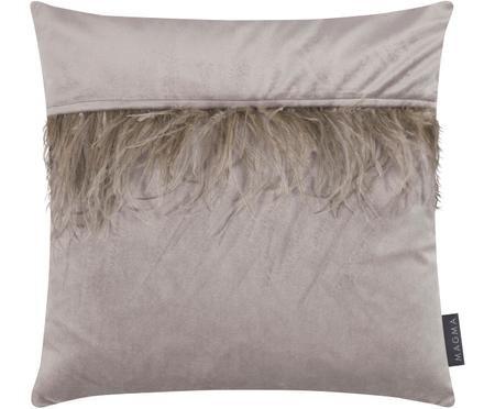 Samt-Kissenhülle Ostrich in Grau mit Federn