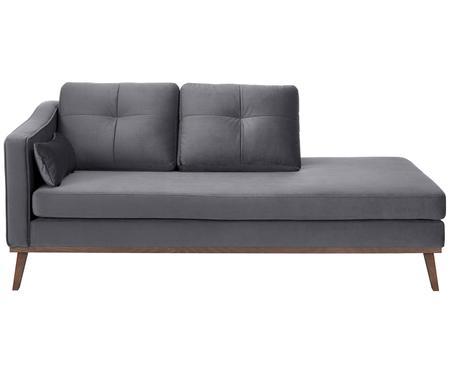 Fluwelen chaise longue Alva, rugleuning links