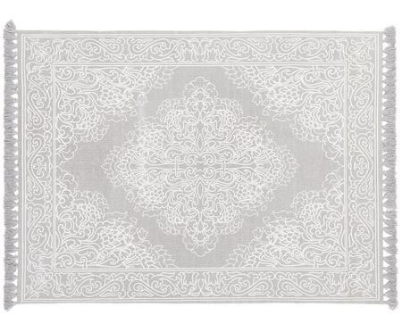Ručně tkaný vzorovaný bavlněný koberec se střapci Salima