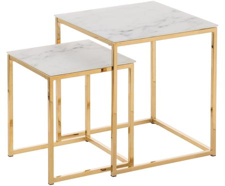 Set de mesas auxiliares Aruba, 2pzas., tablero de cristal en aspecto mármol