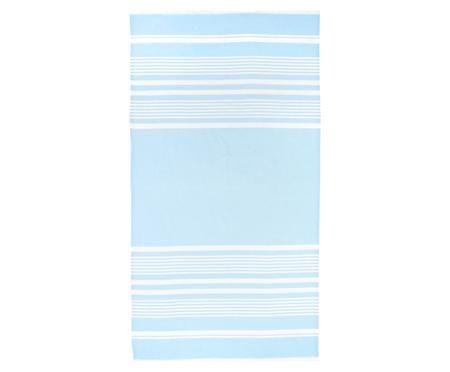 Fouta bleu clair et blanc Nora