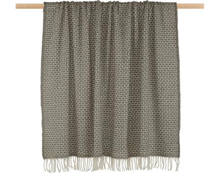 Gemustertes Woll-Plaid Samantha in Grau/Creme