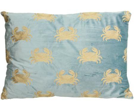 Besticktes Samt-Kissen Crab, mit Inlett