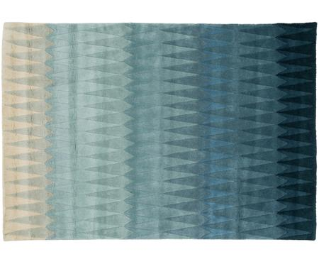 Handgetufteter Designteppich Acacia mit Farbverlauf in Blau aus Wolle