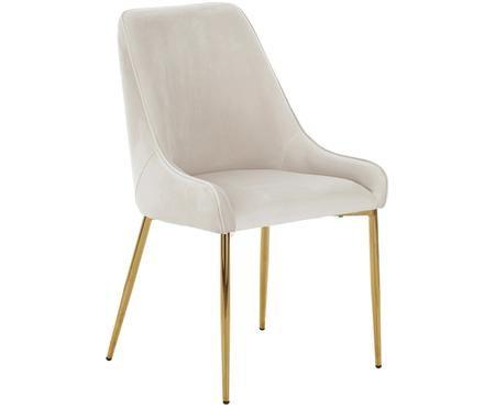 Sedia imbottita in velluto Ava con gambe dorate