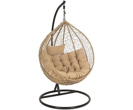 Fotel wiszący z wikliny z metalową ramą Amirantes
