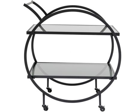 Metalen barcart Loft met glasplaten